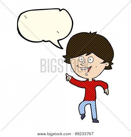 cartoon happy pointing man with speech bubble