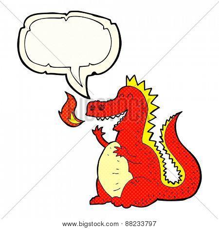 cartoon fire breathing dragon with speech bubble