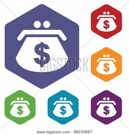 Dollar purse rhombus icons