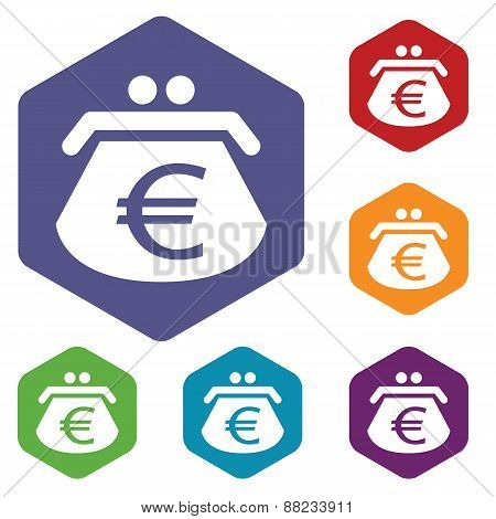 Euro purse rhombus icons