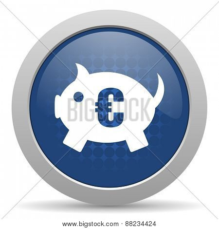 piggy bank blue glossy web icon
