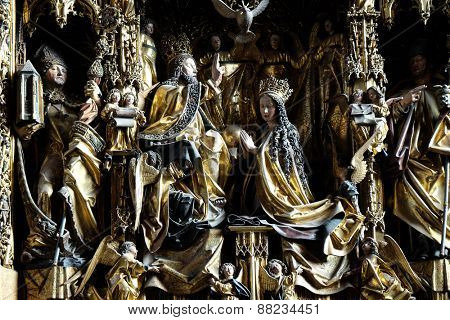ST. WOLFGANG, AUSTRIA - DECEMBER 14: Coronation of the Virgin Mary, Main altar in Parish church in St. Wolfgang on Wolfgangsee in Austria on December 14, 2014.