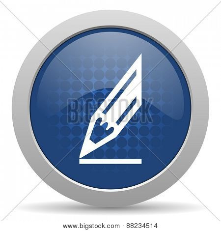 pencil blue glossy web icon