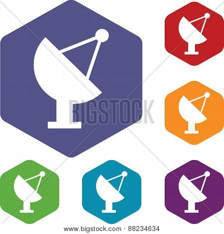Satellite antenna rhombus icons