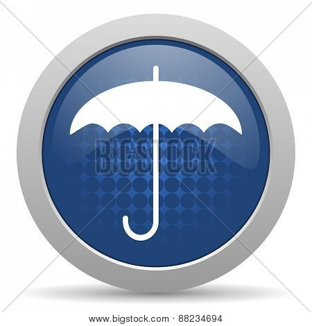 umbrella blue glossy web icon