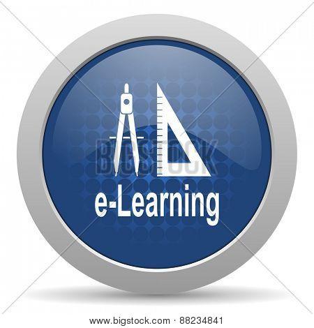 larning blue glossy web icon