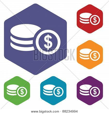 Money rhombus icons