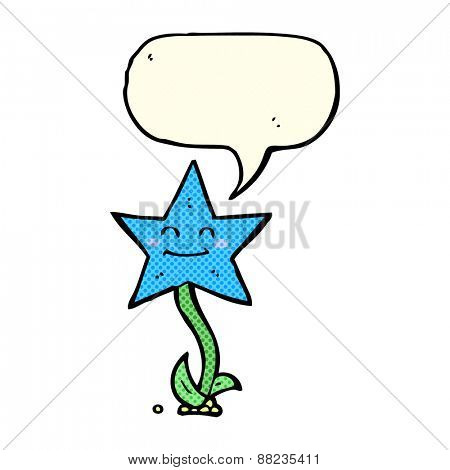 cartoon star flower with speech bubble