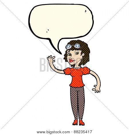 cartoon pilot woman waving with speech bubble