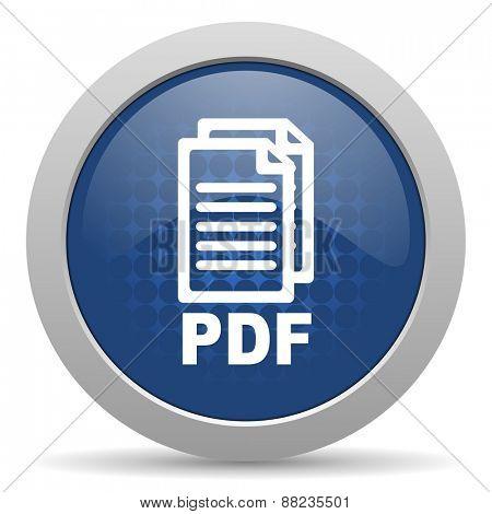 pdf blue glossy web icon,
