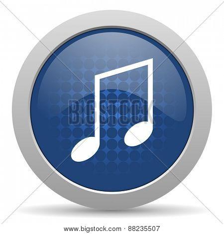 music blue glossy web icon