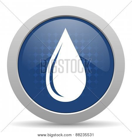 water drop blue glossy web icon