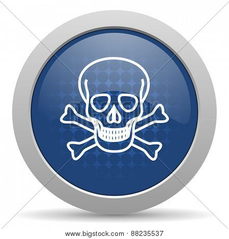 skull blue glossy web icon