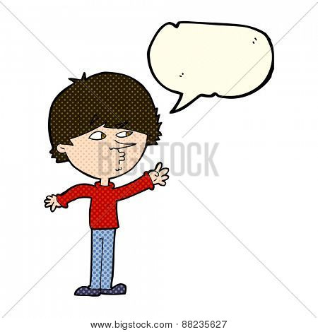 cartoon worried man reaching with speech bubble