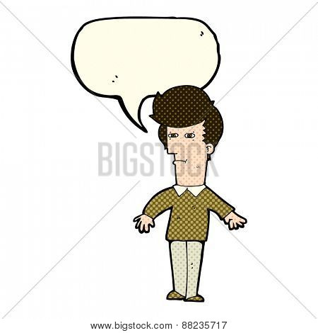 cartoon suspicious man with speech bubble