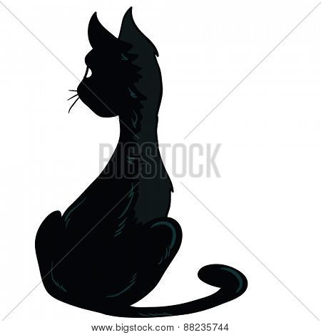 black cat sitting cartoon illustration