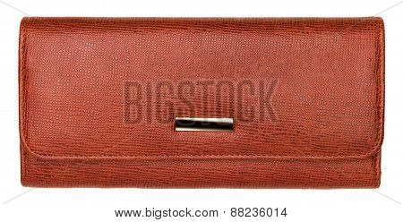 Terracotta Natural Leather Wallet Isolated On White Background