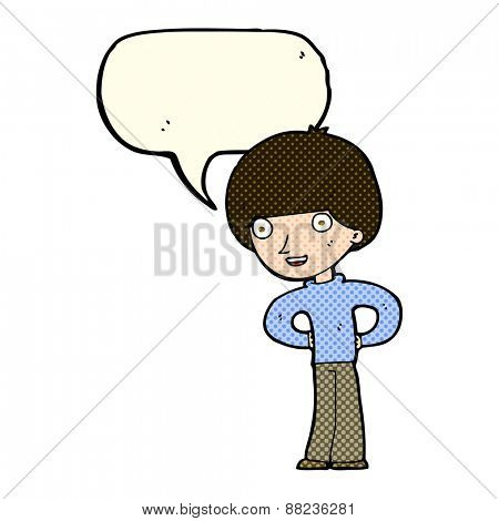 cartoon happy boy with hands on hips with speech bubble