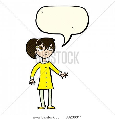 cartoon worried girl with speech bubble