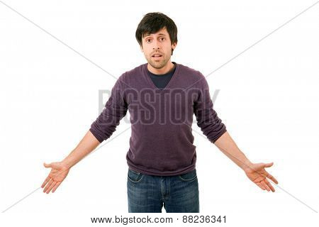 young happy casual man waiting, isolated on white