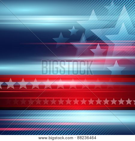 American Independence Day. Vector striped red and blue background