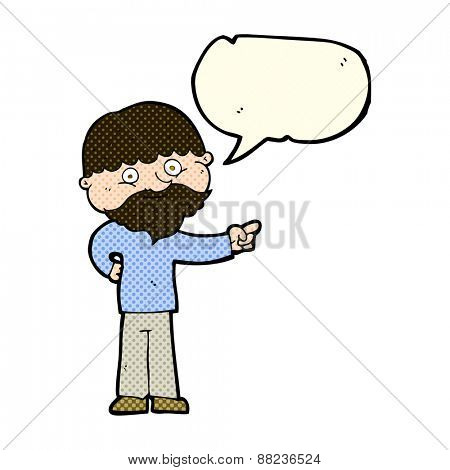 cartoon bearded man pointing with speech bubble