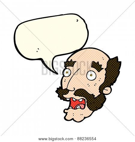 cartoon shocked old man with speech bubble
