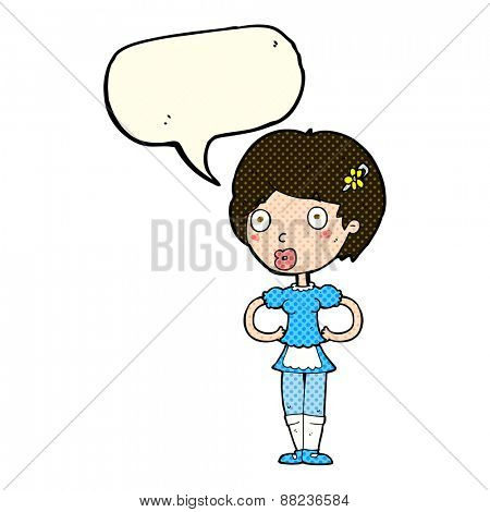 cartoon woman in french maid outfit with speech bubble