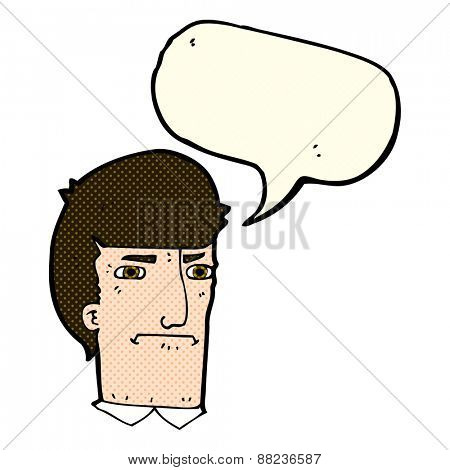 cartoon man narrowing eyes with speech bubble