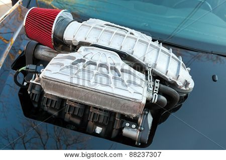 Supercharger, Air Compressor On A Car Hood