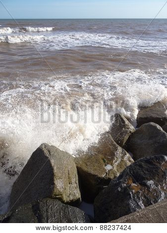 Waves Upon Rocks Seascape