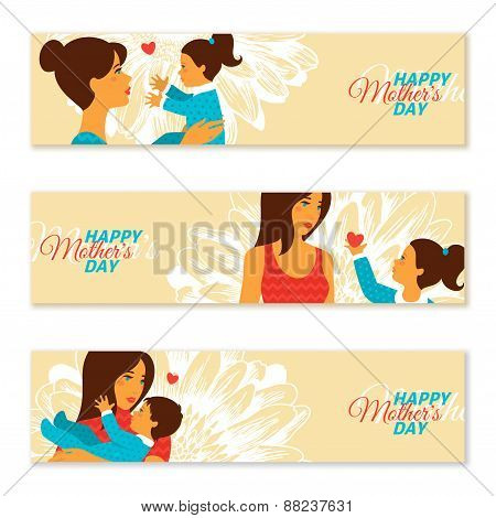 Happy Mother's Day Banners. Vector illustration.