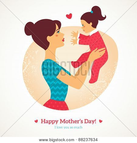 Happy Mother's Day. Vector illustration.