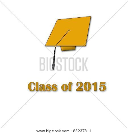 Class of 2015 Orange on White Large Single