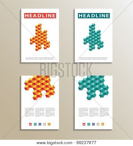 Four brochure, catalog, cover, page layout template