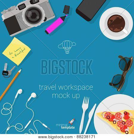 Flat design travel workspace. Minimalist vector template.