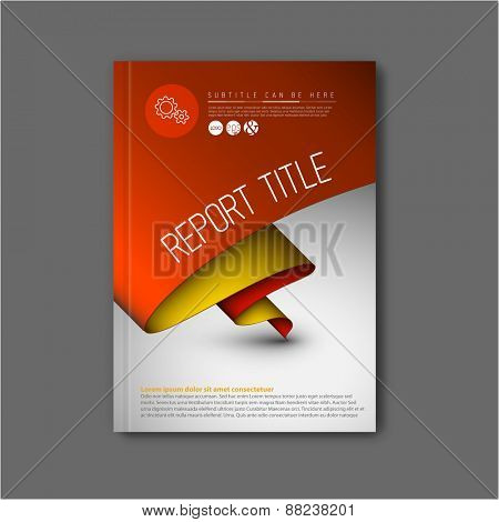 Modern Vector abstract brochure / book / flyer design template with yellow and red paper