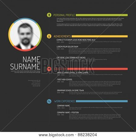 Vector minimalist cv / resume template - minimalistic colorful dark gray version