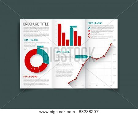 Modern Vector three fold brochure / leaflet / flyer design template with graphs and charts - red and teal version