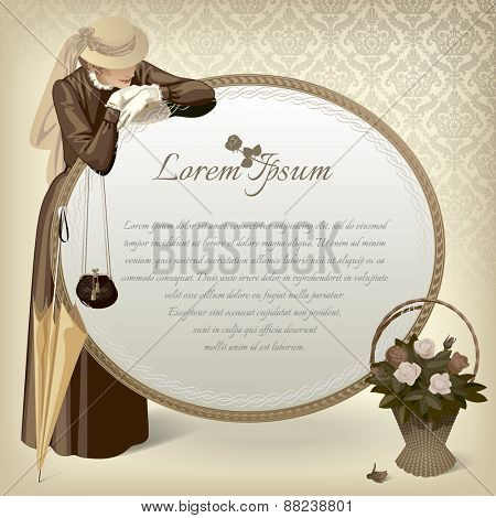 Vector vintage image of a standing woman in brown dress with handbag, umbrella, big round mirror and basket with roses on a table. Retro fashion template. Vector Illustration