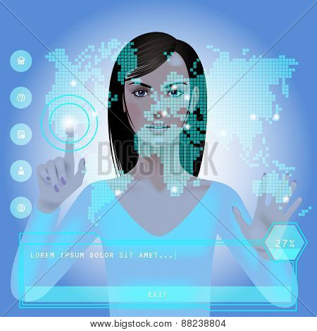 Girl in front of a blue glowing digital world map with web icons and panel. Modern technology template. Vector Illustration