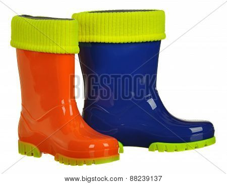 rubber boots for kids isolated on white background