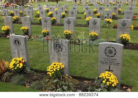 PRAGUE, CZECH REPUBLIC - NOVEMBER 13, 2012: Commonwealth War Cemetery with graves of UK and Allied soldiers fallen during World War II at the Olsany Cemetery in Prague, Czech Republic.