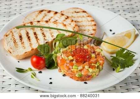 Salmon Tartar on a light background