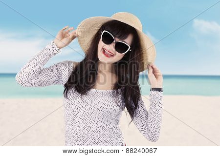 Excited Female Model At Seaside