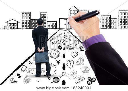 Entrepreneur With Business Doodles