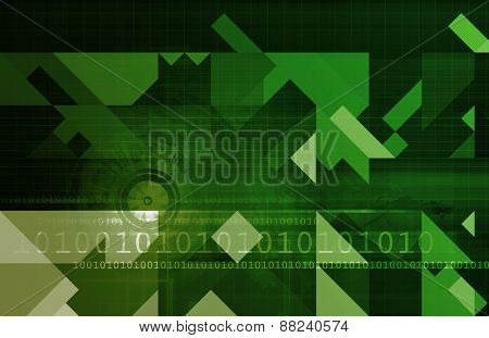 Business Intelligence and Decision Making Abstract Art in Green