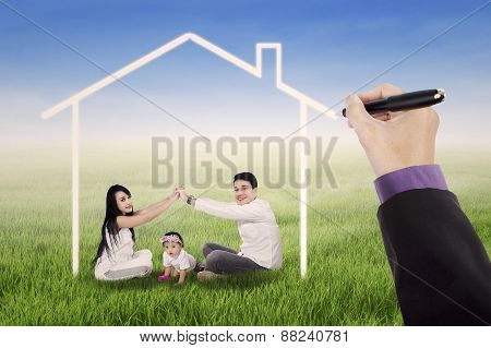 Playful Family Under A Dream House