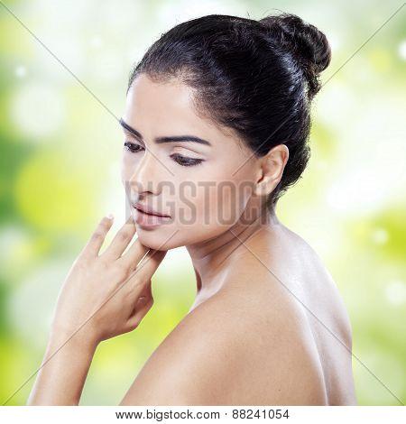 Pretty Woman Against Bokeh Background
