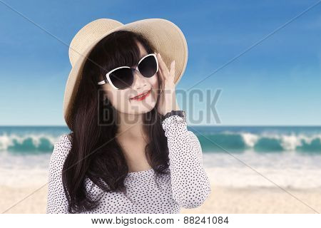 Pretty Model Wearing Hat At Coast